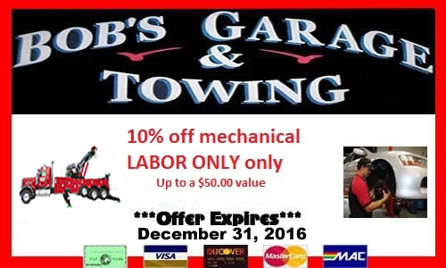 Coupon is valid for our mechanical division ONLY and is 10% off mechanical labor ONLY